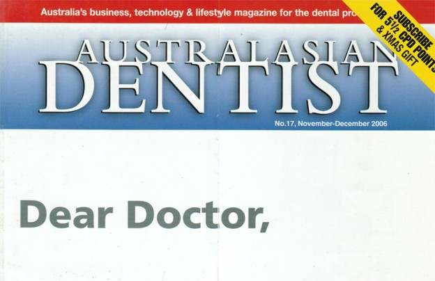Australasian Dentist Nov Dec 2006 cover